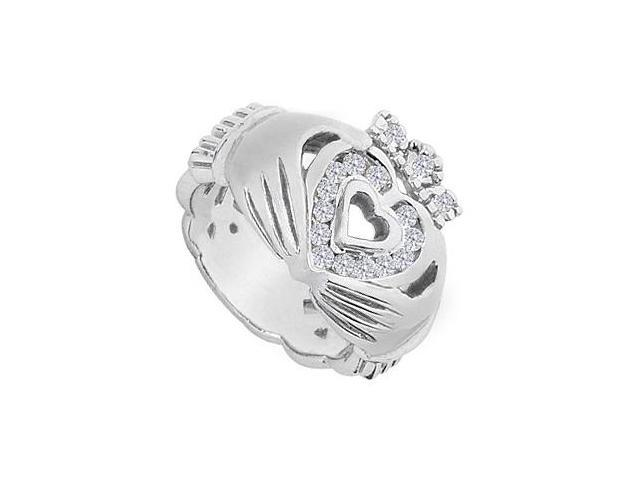 CZ Claddagh Ring in Polished 14K White Gold 0.33 Carat Total Gem Weight