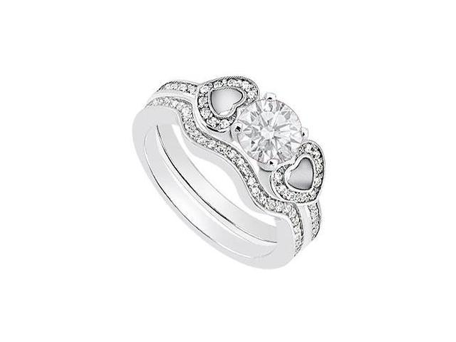 Diamond Heart Engagement Ring with Diamond Wedding Band Sets in 14K White Gold 0.85 Carat TDW