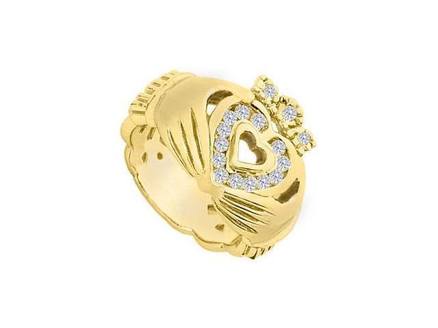 Polished 14K Yellow Gold Claddagh Cubic Zirconia Ring with  Total Gem Weight of 0.33 Carat