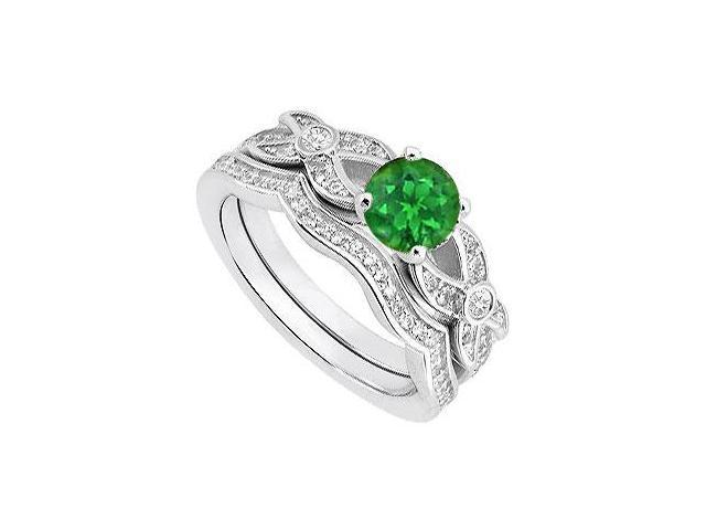 14K White Gold Diamond and Green Emerald Engagement Ring with Wedding Rings 0.85 Carat TGW