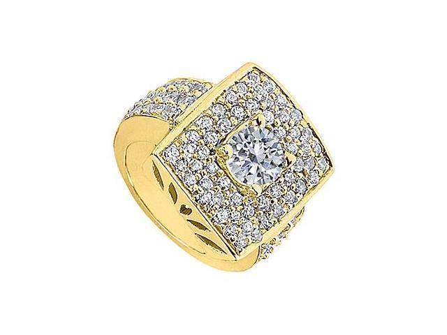 Fashion Pave CZ Ring in Yellow Gold 14K with 2.50 Carat Total Gem Weight