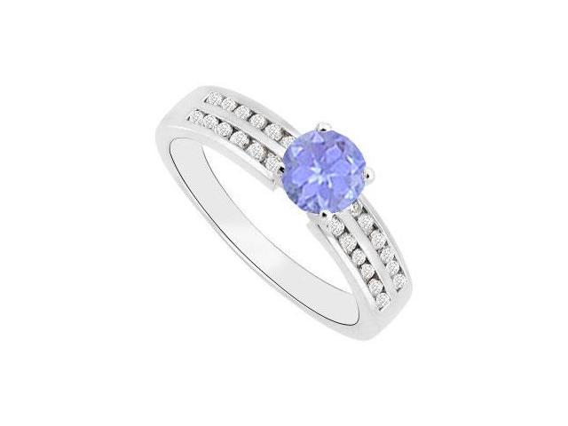 Tanzanite Engagement Ring Diamond Channel Set in 14K White Gold 1 Carat Total Gem Weight