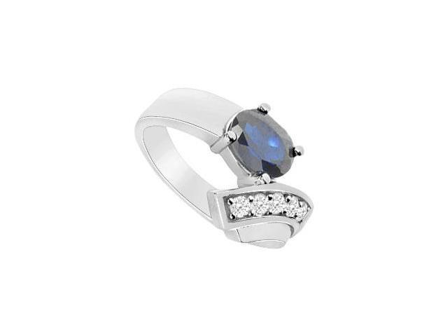 Diffuse Sapphire and Cubic Zirconia Ring 10K White Gold 1.75 Carat Total Gem Weight