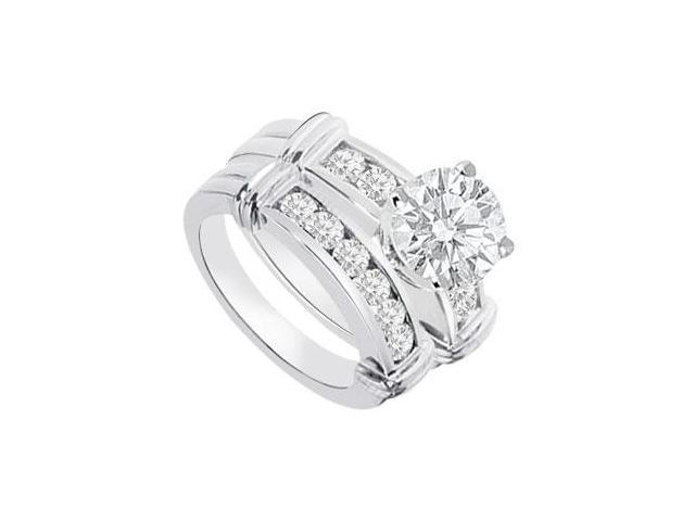 Diamond Engagement Ring with Wedding Band Sets 14K White Gold  0.90 CT TDW