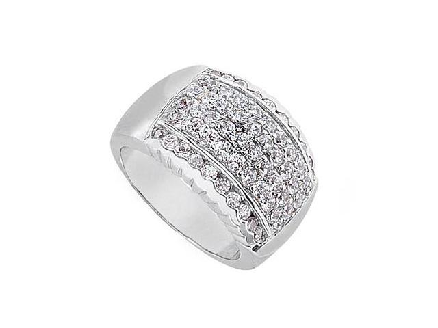 Polished White Gold 14K Fashion CZ Ring of 1.25 Carat Total Gem Weight