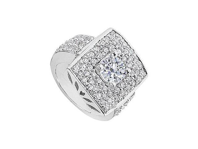 Fashion Pave Cubic Zirconia Ring in White Gold 14K with 2.50 Carat Total Gem Weight