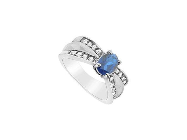 Diffuse Sapphire and Cubic Zirconia Ring 10K White Gold 2.00 Carat Total Gem Weight