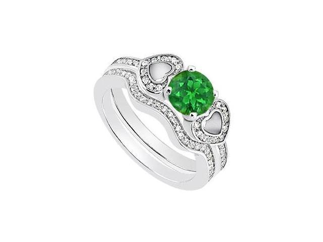 Emerald and Diamond Heart Engagement Ring with Diamond Bands in 14K White Gold 1.10 Carat TGW