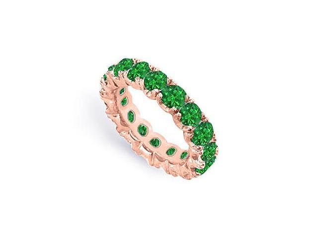 Eternity Wedding Bands of Emerald Created Six Carat TGW. Set on 14K Rose Gold Vermeil