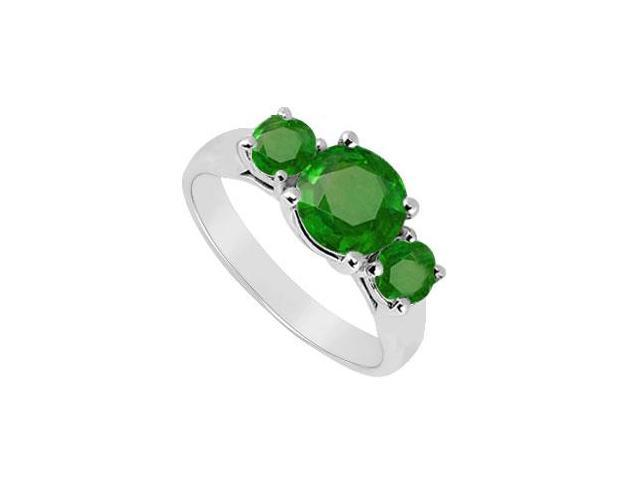 Sterling Silver Frosted Emerald Three Stone Ring 1.25 Carat Total Gem Weight