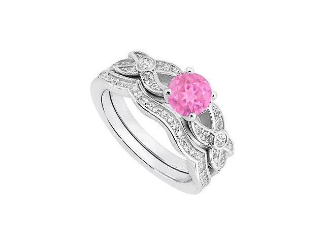 Pink Sapphire and Diamond Engagement Ring with Diamond Bands in 14K White Gold 0.85 Carat TGW