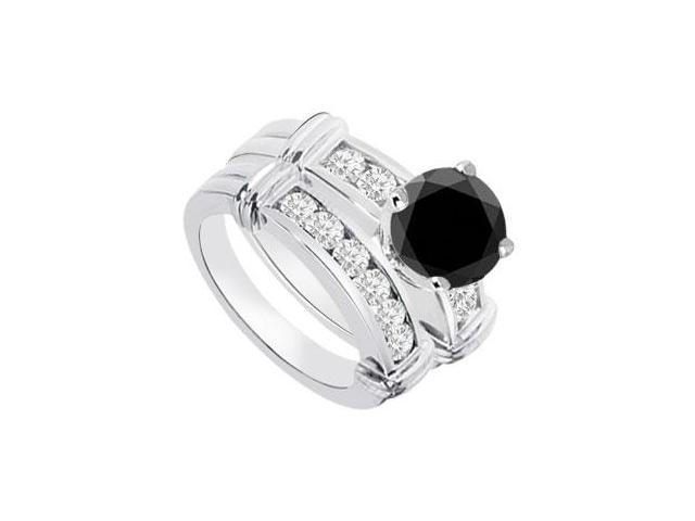 Black  White Diamond Engagement Ring with Wedding Band Sets 14K White Gold  0.90 CT TDW