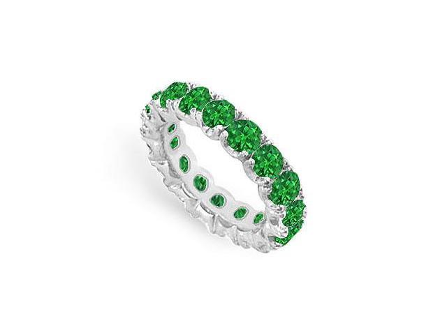 Green Emerald Created Eternity Ring in Sterling Silver 925 TGW.Seven Carat