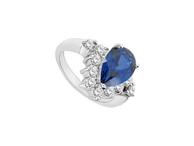 Diffuse Sapphire and Cubic Zirconia Ring 10K White Gold 4.00 Carat Total Gem Weight