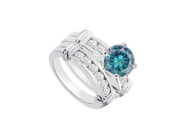 Blue  White Diamond Engagement Ring with Wedding Band Sets 14K White Gold  0.90 CT TDW