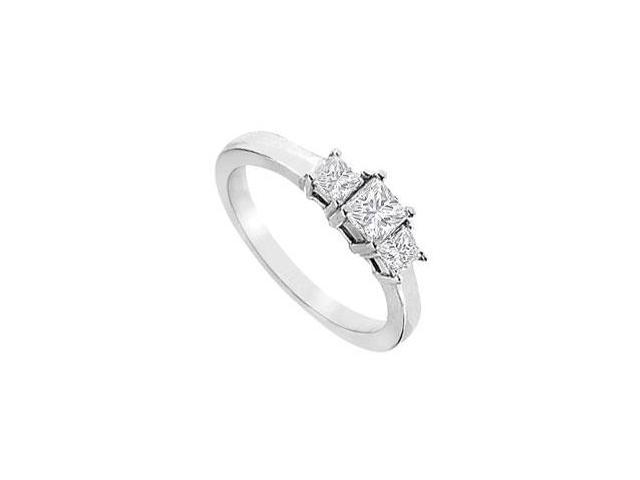 Princess Cut Three Stone CZ Engagement Ring in 14K White Gold 1 Carat Total Gem Weight