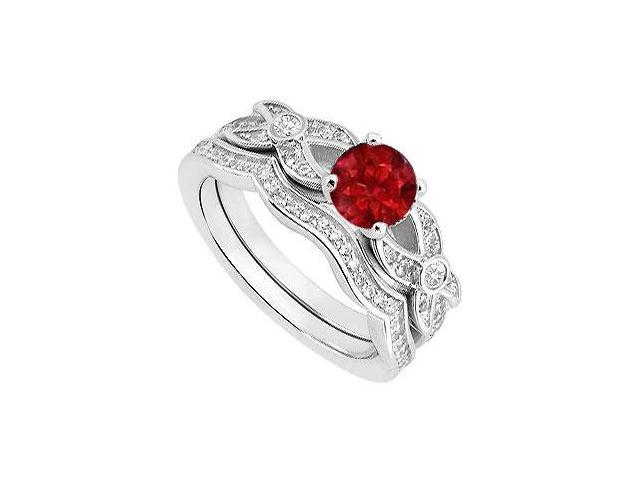 14K White Gold Diamond and Natural Ruby Engagement Ring with Wedding Ring Sets of 0.85 Carat TGW