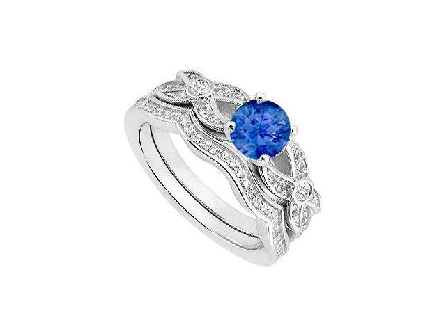 Natural Sapphire and Diamond Engagement Ring in 14K White Gold with Diamond Bands 0.85 Carat TGW