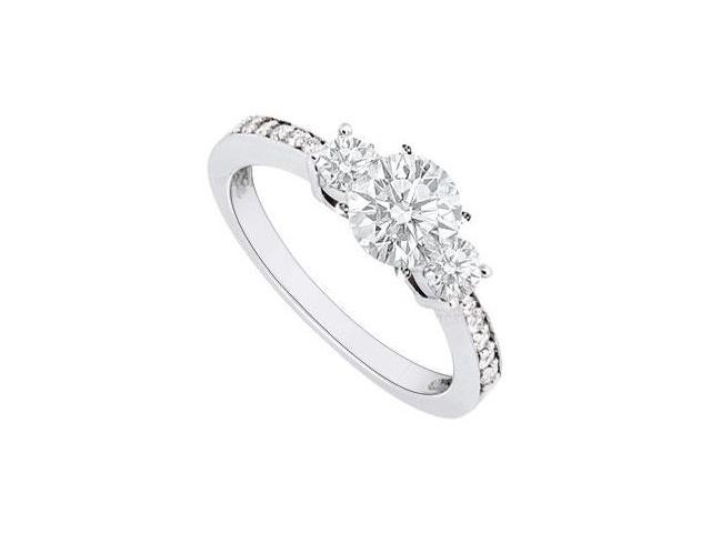 CZ in 14K White Gold Engagement Ring of One Carat Total Gem Weight