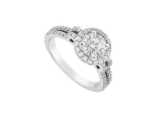 1 Carat Engagement Ring in 14K White Gold Cubic Zirconia of Triple AAA Quality