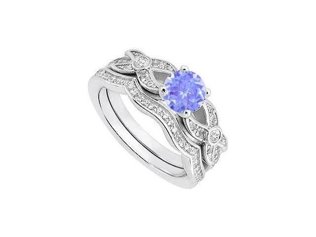 14K White Gold Tanzanite and Diamond Engagement Ring with Wedding Band of 0.85 Carat TGW