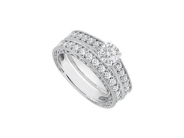 14K White Gold Diamond Engagement Rings with Diamond Wedding Band 1.15 Carat Diamonds