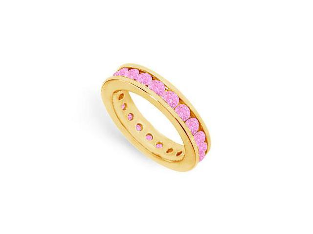 Created Pink Sapphire Eternity Band on 18K Yellow Gold Vermeil 2 CT TGW in Channel Setting