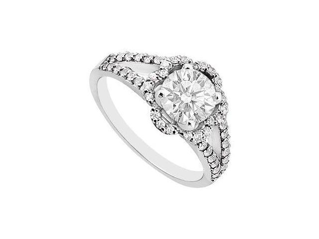 14K White Gold Cubic Zirconia 1 Carat Engagement Ring