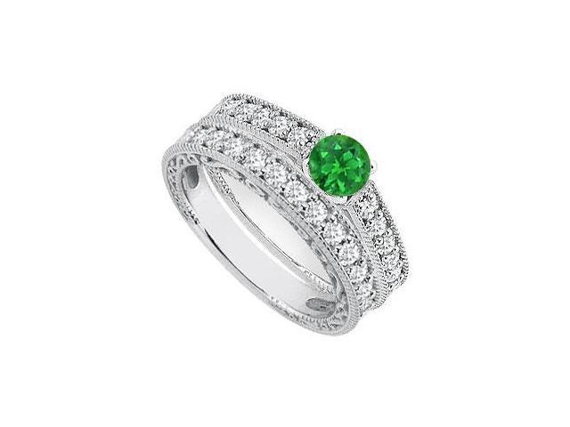 Green Emerald and Diamond Engagement Rings with Wedding Ring Sets 1.40 Carat TGW