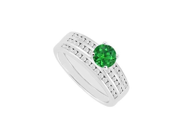 Engagement Ring Emerald and Diamonds Channel Set Wedding Band Sets in 14K White Gold 1.15 Carat