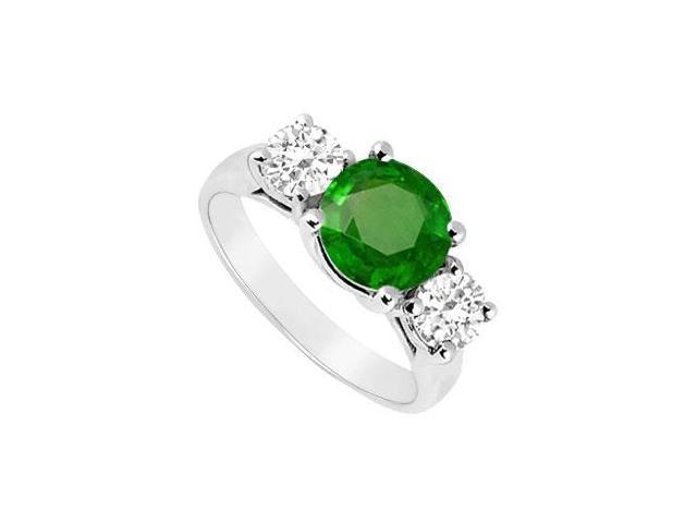 Frosted Emerald and Cubic Zirconia Three Stone Ring 925 Sterling Silver 2.50 CT TGW