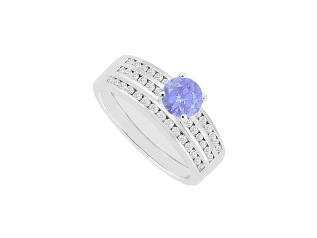 14K White Gold Channel Set Diamond Tanzanite Engagement Ring with Wedding Band 1.15 Carat TGW