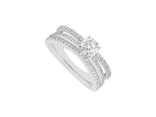 14K White Gold Diamond Engagement Ring with Wedding Band Sets 0.90 Carat Diamonds