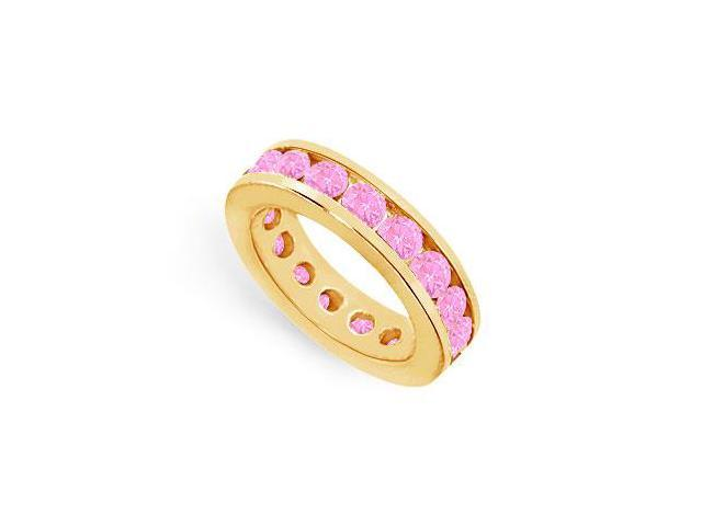Six Carat Eternity Rings Channel Set Created Pink Sapphire Over 18K Yellow Gold Vermeil