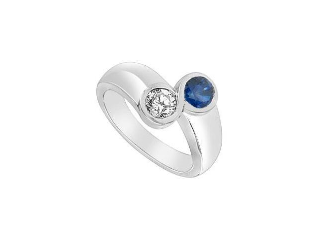 Diffuse Sapphire and Cubic Zirconia Ring 14K White Gold 1.00 Carat Total Gem Weight