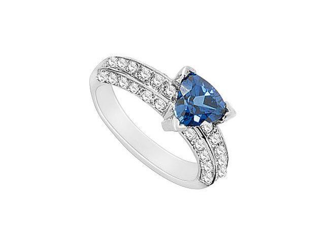Diffuse Sapphire and Diamond Ring 14K White Gold 3.00 Carat Total Gem Weight