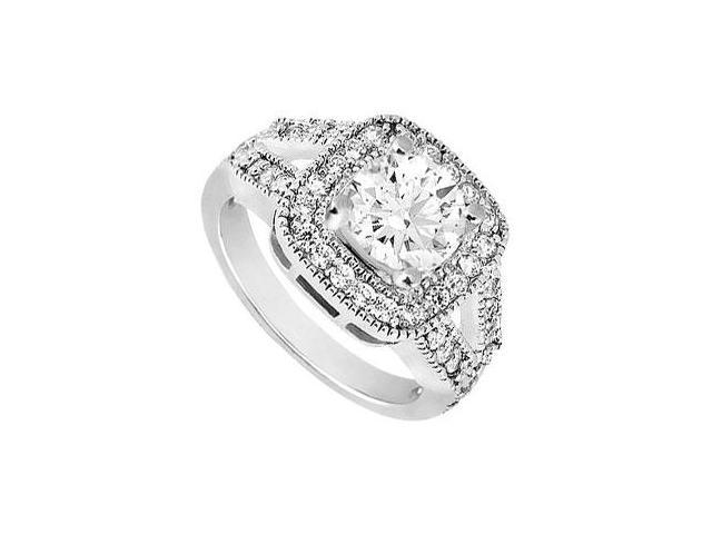 14K White Gold Cubic Zirconia Engagement Ring with 1.50 Carat Total Gem Weight