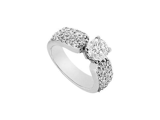 Cubic Zirconia Engagement Ring in 14K White Gold Total Gem Weight of 1.50 Carat