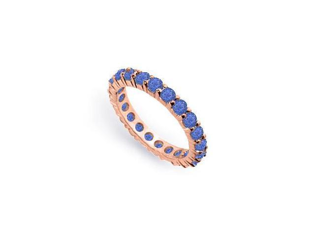 Two Carat Created Blue Sapphire Eternity Band in 14K Rose Gold Vermeil