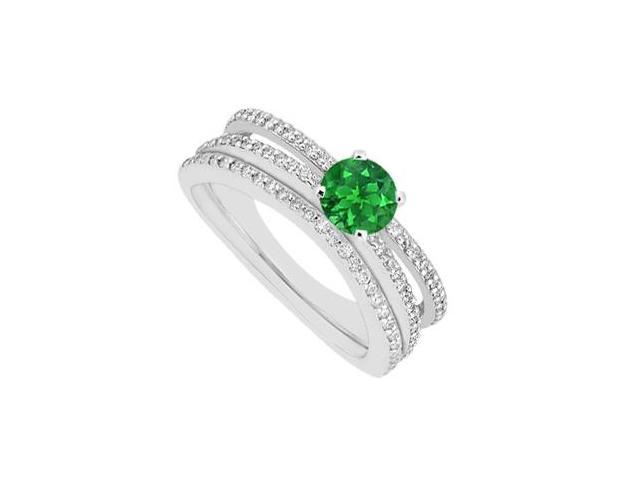 Emerald Engagement Ring with Diamonds Wedding Band Sets in 14K White Gold 1.15 Carat Gem Weight