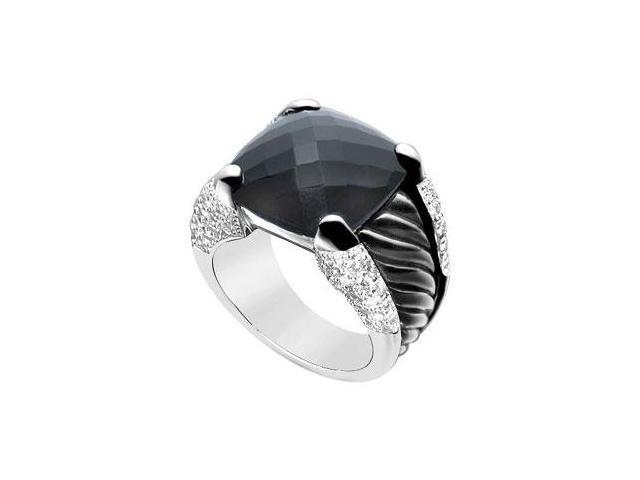 Black Onyx and Diamond Rope Ring  14K White Gold - 11.50 CT TGW