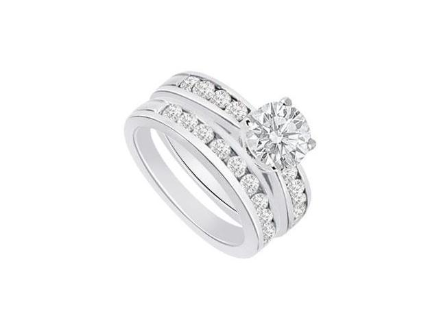 Diamond Engagement Ring with Wedding Band Sets 14K White Gold  1.25 CT TDW