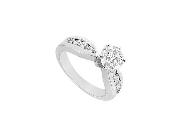 Polished 14K White Gold Engagement Ring with CZ 1.50 Carat Total Gem Weight