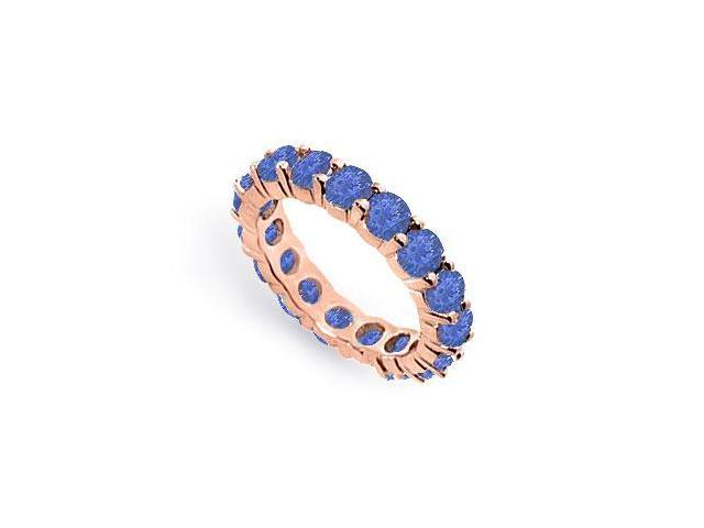 Created Blue Sapphire Eternity Bands of 4 CT. TGW. on 14K Rose Gold Vermeil