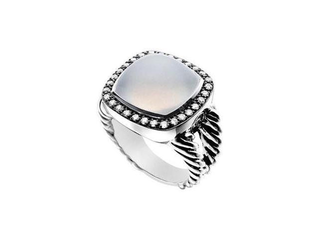 Moon Quartz and Diamond Rope Ring  14K White Gold - 10.50 CT TGW