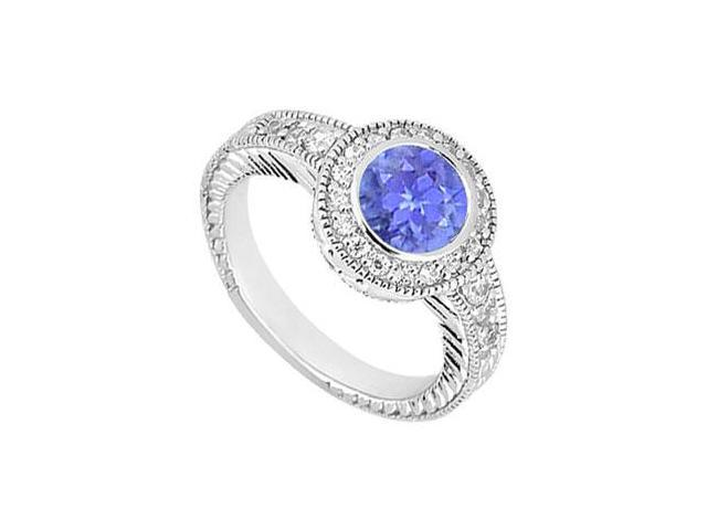 Sterling Silver Created Tanzanite and Cubic Zirconia Engagement Ring 0.75 CT TGW