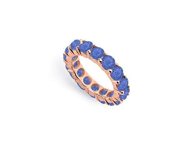 Eternity Wedding Bands of Sapphire Created Six Carat TGW. Set on 14K Rose Gold Vermeil