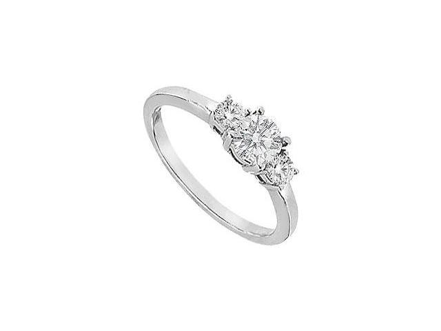 Three Stone Cubic Zirconia Engagement Ring in White Gold 14K Total Gem Weight of 0.75 Carat