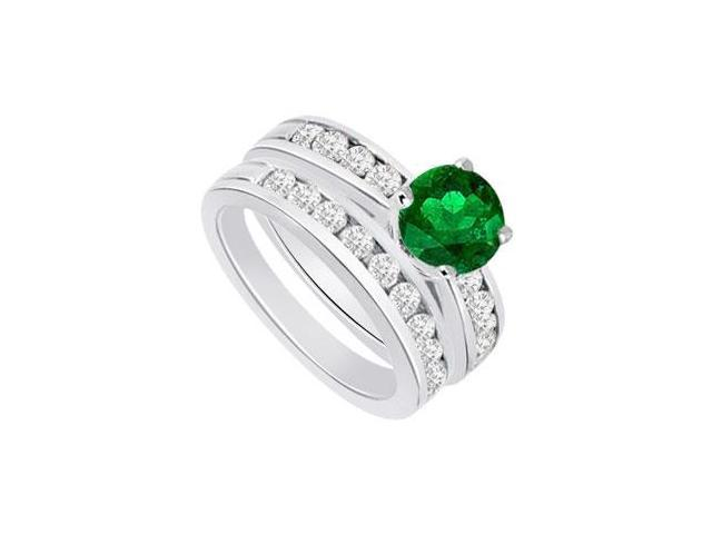 Emerald  Diamond Engagement Ring with Wedding Band Sets 14K White Gold  1.25 CT TGW