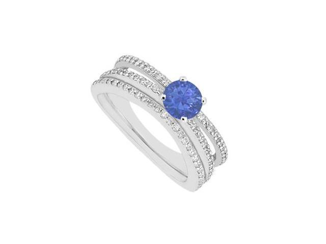 Sapphire Engagement Ring with Diamonds Weddings Band Set in 14K White Gold 1.15 Carat Gem Weight